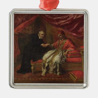 St. Filippo Neri Curing Pope Clemente VIII Silver-Colored Square Decoration