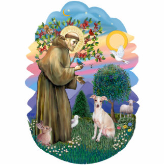 St Francis 2B - Itlaian Greyhound (fawn) Standing Photo Sculpture
