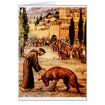 St Francis and the Wolf Greeting Cards