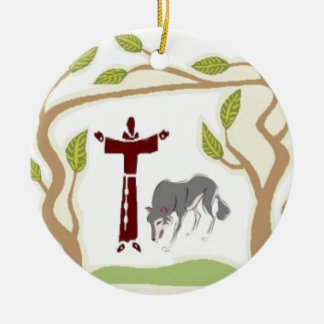 St. Francis and The Wolf tie, gift box, chain etc Christmas Ornament