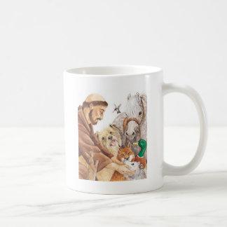 St. Francis & Animals, hat, pin, keychain, pet tag Basic White Mug