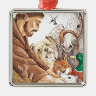 St. Francis & Animals, hat, pin, keychain, pet tag Silver-Colored Square Decoration