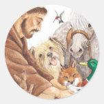 St. Francis & Animals, hat, pin, keychain, pet tag Round Sticker