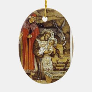 St Francis at the Nativity, mug key chain iPhone Christmas Ornament