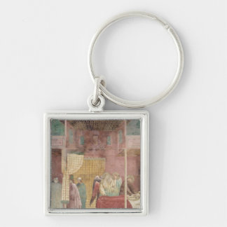 St. Francis Cures the Injured Man from Lerida Silver-Colored Square Key Ring