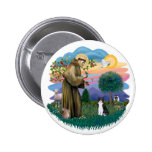 St Francis (ff) - Black and white cat Button
