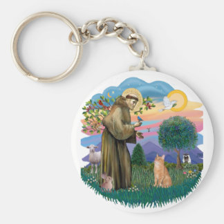 St Francis (ff) - Orange Tabby cat Keychains