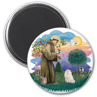 St Francis (ff) - White Persian cat 6 Cm Round Magnet