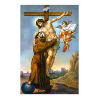 St. Francis Jesus Cross Angels World Custom Stationery
