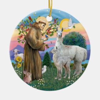 St Francis - Llama 12 and baby Christmas Ornament