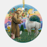 St Francis - Llama 12 Round Ceramic Decoration
