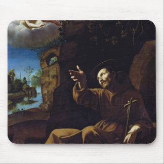 St Francis of Assisi Consoled by an Angel Mousepad