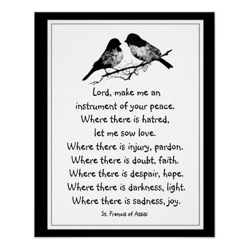 St. Francis of Assisi Prayer with Little Birds Poster