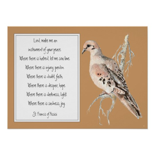 St. Francis of Assisi, Prayer with Watercolor Dove