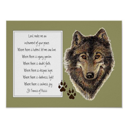 St. Francis of Assisi Prayer with Wolf & Tracks Poster | Zazzle.co.uk