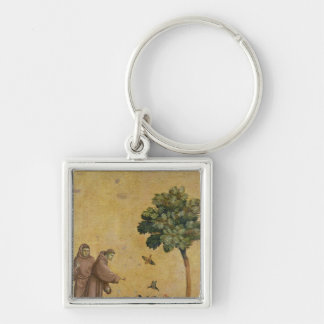 St. Francis of Assisi preaching to the birds Silver-Colored Square Key Ring