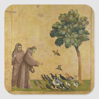 St. Francis of Assisi preaching to the birds Square Sticker