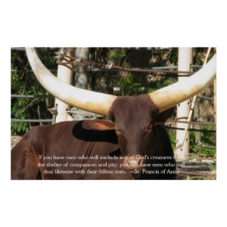 St. Francis of Assisi Quote about Animal Rights Poster