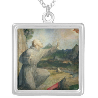 St. Francis of Assisi Receiving the Stigmata Silver Plated Necklace