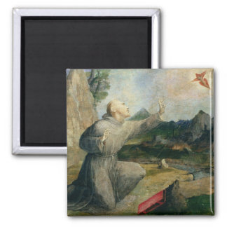 St. Francis of Assisi Receiving the Stigmata Square Magnet