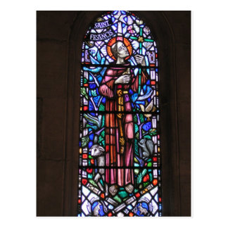 St Francis of Assisi stained glass Postcard