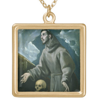 St. Francis Receiving the Stigmata (oil on canvas) Gold Plated Necklace