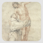 St. Francis Rejecting the World and Embracing Square Sticker