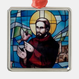 St Francis Stained Glass Image with Dove Silver-Colored Square Decoration