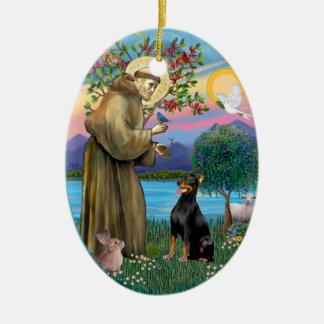 St Francis (W) - Doberman Pinscher 1 Ceramic Oval Decoration