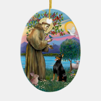 St Francis (W) - Doberman Pinscher 1 Christmas Ornament