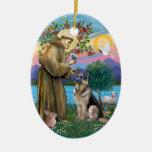 St Francis (W) - German Shepherd (C) Christmas Tree Ornaments