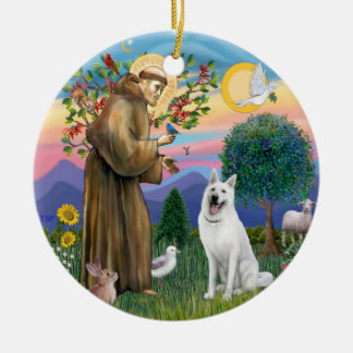 St Francis - White German Shepherd Round Ceramic Decoration
