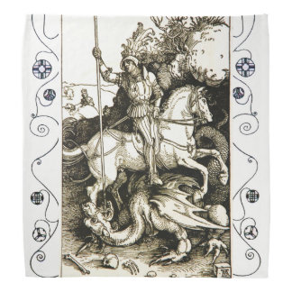 ST. GEORGE AND DRAGON , Black White Bandannas