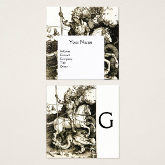 ST. GEORGE AND DRAGON MONOGRAM, Black White Square Business Card