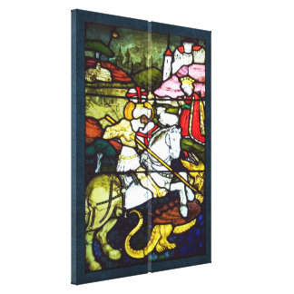 St. George and the Dragon Stained Glass Double Canvas Print