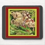 St. George and the Dragon  ~ Vintage Art Nouveau Mousemat
