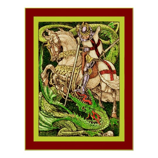 St. George and the Dragon ~ Vintage Art