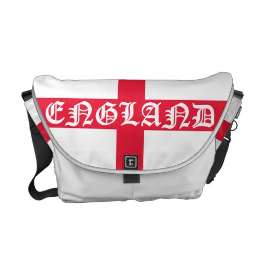 St George Cross with England Text. Messenger Bags