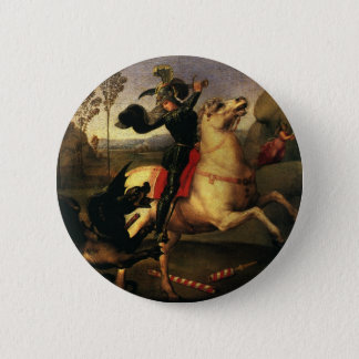 St. George Fighting the Dragon, Raphael, Raffaello 6 Cm Round Badge