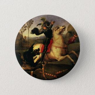 St. George Fighting the Dragon, Raphael, Raffaello 6 Cm Round Badge