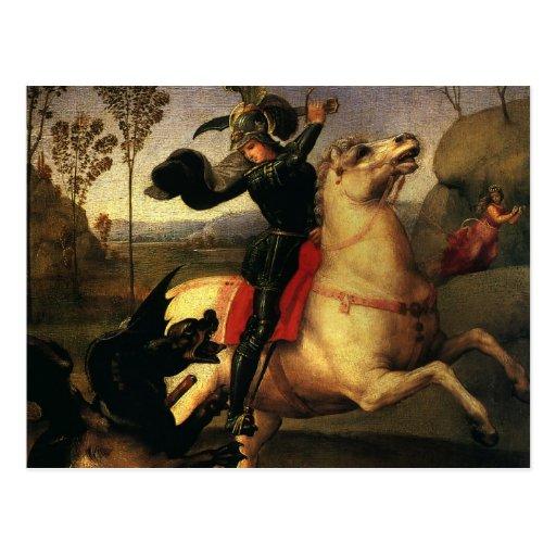 St. George Fighting the Dragon, Raphael, Raffaello Post Card