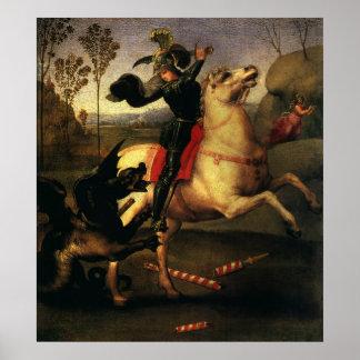 St. George Fighting the Dragon, Raphael, Raffaello Poster