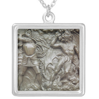 St. George Fighting the Dragon Square Pendant Necklace