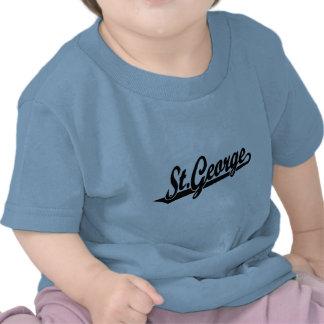 St. George script logo in black Tshirt