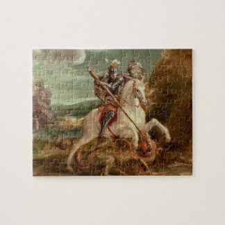 St. George slaying the dragon, (oil on panel) Jigsaw Puzzle