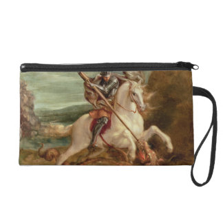 St. George slaying the dragon, (oil on panel) Wristlet Clutch