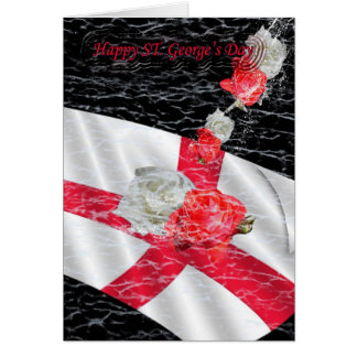 St. George's Day English Flag and roses white and Greeting Card