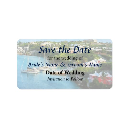 St. George's Harbour, Bermuda Save the Date Label