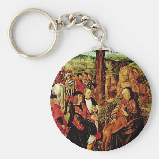 St. Giles And The Hind By Meister Des Heiligen Ägi Key Chains