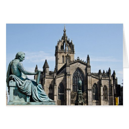 St. Giles Cathedral and David Hume Statue Greeting Cards